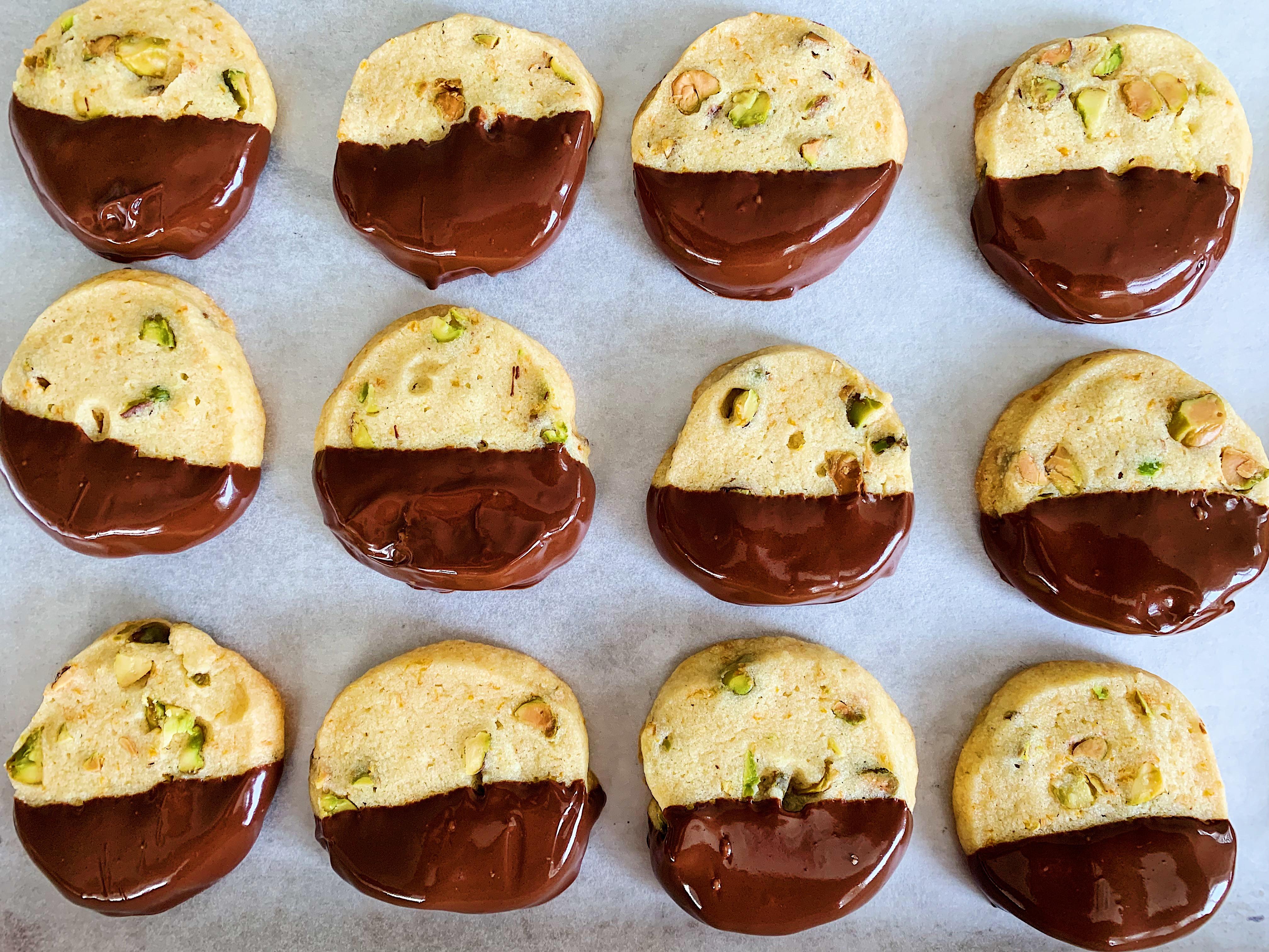 Chocolate-Dipped Orange Pistachio Cookies